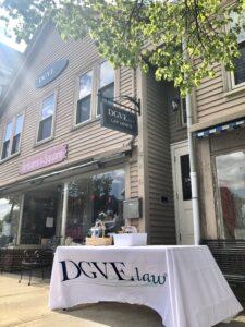 Safely Distanced Sidewalk Signing at DGVE law Hingham, MA